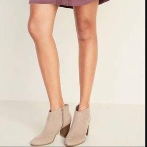 NWT Old Navy Faux-Suede High-Heel Gray Booties 8
